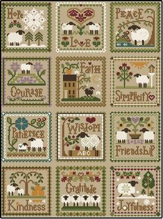 """Cross Stitch Charts Diane Williams of Little House Needleworks has created """"Twelve Sheep Virtues"""". Each month in 2013 she released a sheep virtue pattern; this is the 12 patterns stitched together. Sheep Cross Stitch, Cross Stitch Love, Cross Stitch Needles, Cross Stitch Samplers, Cross Stitch Animals, Cross Stitch Kits, Cross Stitch Charts, Cross Stitch Designs, Cross Stitching"""
