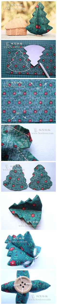 How to sew cute fabric Christmas trees step by step DIY tutorial instructions Fabric Christmas Trees, Christmas Tree Crafts, Christmas Sewing, Christmas Makes, Noel Christmas, Christmas Projects, Handmade Christmas, Christmas Decorations, Christmas Ornaments