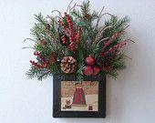Christmas metal basket vintage look snowman, red  berries, crab apples, evergreen, pine cones & twigs