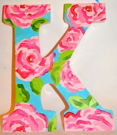Lilly Pulitzer Letters by HandPaintedCoolers on Etsy $15