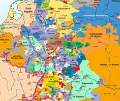 The German speaking peoples of Europe of course were all once part of the Holy Roman Empire, famously said to be neither holy, nor Roman, nor an Empire. This map shows the multitude of individual states shown here in Holy Roman Empire of 1789, on the eve of the French Revolution.