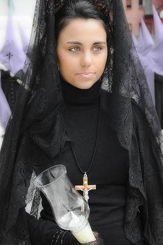 Woman in mantilla,Semana Santa (Holy Week), Bossòst, Spain