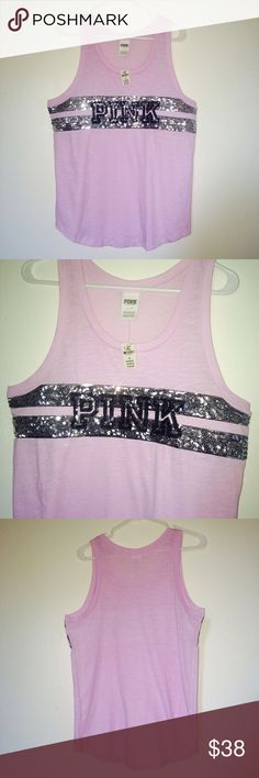 NWT VS Pink Muscle Tee  Large Beautiful sparkly design on the front featuring the word pink on it. Lavender color and very lightweight comfortable material. PINK Victoria's Secret Tops Muscle Tees