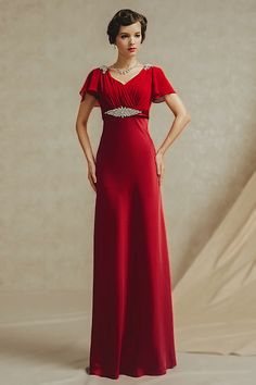 Chic Short Sleeves V Neck Ruched Full Length Red Evening Dress