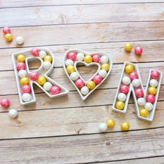 Ceramic letter serving dishes perfect for a candy bar!