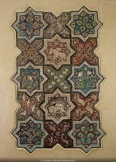 Turkish ornamental tiles from Kashan or Danghan Turkish Tiles, Turkish Art, Islamic Tiles, Islamic Art, Islamic Patterns, Tile Patterns, Arabesque, Iranian Art, Arabic Art