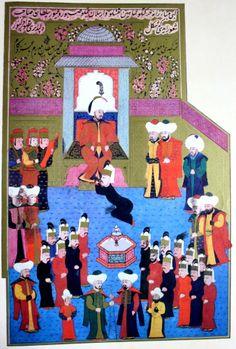 """Hünername'den nakkaş Osman çizimi ile """"Çelebi sultan Mehmed'in Anadolu'da cülusu."""" minyatürü."""