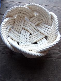 Cotton Knotted Bowl Rope Basket 10 x 5 Tightly Woven Nautical Beach Decor StyleItems similar to Nautical Decor Cotton Rope Bowl Basket x Tightly Woven Beach Marine Ocean Coastal Rustic on Sublime Useful Ideas: Coastal Chic Kitchen coastal crafts fli Rope Knots, Macrame Knots, Rope Basket, Basket Weaving, Rope Crafts, Decor Crafts, Rope Rug, Boho Dekor, Nautical Rope