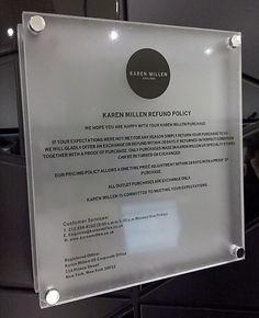 The Karen Millen Shop at the Short Hills Mall, NJ presents their upscale Upscale Returns Pronouncement Sign making an effort to project brand the quality Short Hills Mall, Retail Signage, Make An Effort, Boutique Design, Karen Millen, Binder, Trapper Keeper, Teacher Binder, Financial Binder