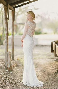 Dress Inspiration~  Love this Claire Pettibone 'Chantilly' wedding gown. Perfect for a rustic barn wedding with fall leaves.   @Four Seasons Bridal