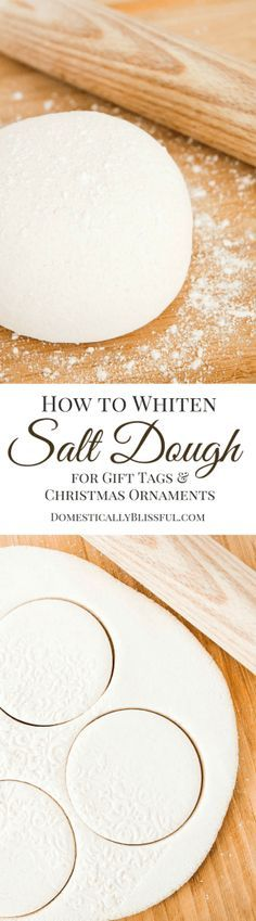 to Whiten Salt Dough A simple tutorial for creating beautiful white salt dough for christmas ornaments & gift tags!A simple tutorial for creating beautiful white salt dough for christmas ornaments & gift tags! Noel Christmas, Christmas Gift Tags, Diy Christmas Ornaments, Homemade Christmas, Christmas Projects, Holiday Crafts, Christmas Decorations, Handmade Ornaments, Holiday Decor