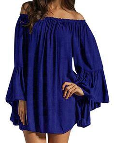 ZANZEA Women's Sexy Off Shoulder Chiffon Boho Ruffle Sleeve Blouse Mini Dress: Amazon Fashion