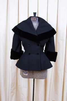 1940 | New Look Black Wool Peplum Coat with Shawl Collar and Velvet Accents by Lilli Ann