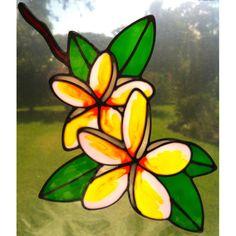 Frangipani Plumeria flower Suncatcher window sticker decal stained glass style Sunshiner leadlight COPY
