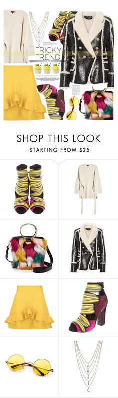 """Touch of yellow"" by trendyandtrend ❤ liked on Polyvore featuring Pierre Hardy, Theory, Milly, Balmain, Boohoo, Ettika, H&M and Anja"