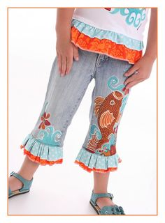 Japanese  Koi Garden Painted Denim Jeans or by dreaminbohemian, $65.00