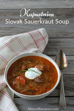 With sauerkraut, smoked ham, and smoked sausages, kapustnica (Slovak sauerkraut soup) is the perfect example of old world batch cooking. Slovak Recipes, Czech Recipes, Hungarian Recipes, Ethnic Recipes, Romanian Recipes, Hungarian Food, Austrian Recipes, Sauerkraut Soup Recipe