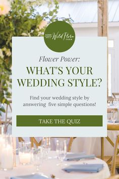 Have fun taking the wedding style quiz from Barn of Chapel Hill and find out what your perfect wedding should look like. Let your inner flower child shine and find your wedding style by answering five simple questions ranging from answering what your favorite flower is to what you consider to be a perfect date night! Perfect Date, Perfect Wedding, Floral Centerpieces, Wedding Centerpieces, Flora Farms, Family Flowers, Chapel Hill, Flower Farm, Farm Wedding