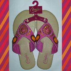 Candie's Hot Pink Flip Flop Sandal 5-6 Gem covered Hot Pink Sandal Shoes Sandals