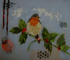 Hand Painted Paper Bird Collage by MarilynKelleyArt on Etsy, $65.00