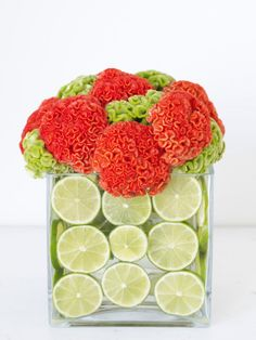 Interesting DIY Wedding Centerpieces: Interesting DIY Wedding Centerpieces With Red Flowers And Lime Decor
