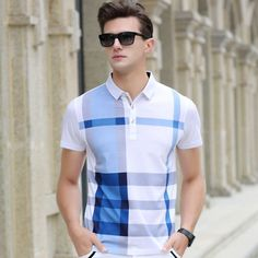Men Polo Shirt Hot Sale New plaid 2017 Summer Fashion classic casual tops Short Sleeves Famous Brand Cotton Skull High quality Casual Tops, Men Casual, Mens Clothing Brands, Slim Fit Polo Shirts, Le Polo, Summer Outfits Men, England Fashion, Tommy Hilfiger, Plaid Fashion