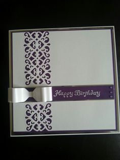 Card using Sue Wilson striplet die and paper bow made using my envelope board.