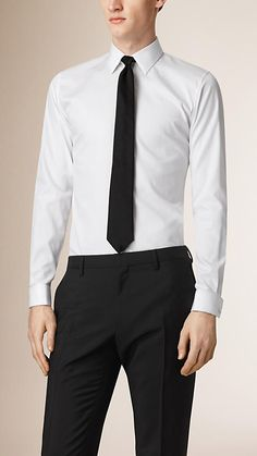 ホワイト スリムフィット・サテン・ディテール・ドレスシャツ - イメージ 1
