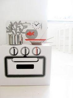 love this cardboard stove! via littlemissheirlooms.com
