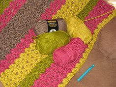 5 1/2 Hour Crochet Afghan - from Ravelry. Pinner made this one for her daughter. Cute! Looks like (4) strands of yarn & large hook.