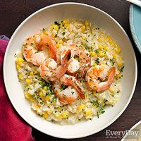 The fresh corn and herbs make this one our favorite risotto dishes.  Used extra large shrimp and baked for 7 minutes.  The lemon juice enhanced the taste of the shrimp. A must try.