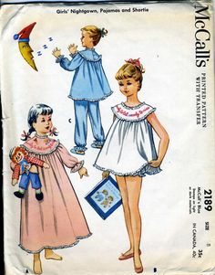 Vintage 50s McCalls 2189 Girls Baby Doll Shortie Pajamas, Nightgown Sewing…