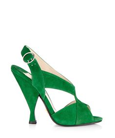 Green suede peep-toe ankle strap heels by Prada on secretsales.com