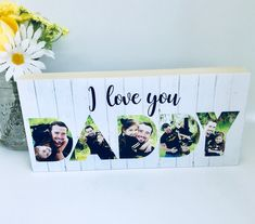 This beautiful chunky wooden photoblock is made from pine with your own photo's reproduced inside the word DADDY, along with Best Friend Love, Friends In Love, Daddy Gifts, Gifts For Father, Girlfriend Anniversary Gifts, Wooden Pattern, Grandparents Day, Love Gifts, Kids Gifts