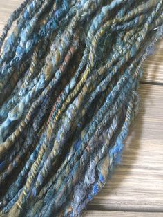 *CLICK TO BUY*  $28.25 Moody textural Blue yarn!  Hand spun, handpainted unique craft supply for a creative like you!