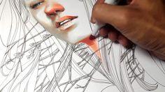 Beautiful Marker and Pen Portrait Time lapse