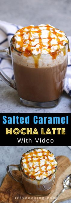 This Salted Caramel Mocha is the real deal! It gives you all the delicious flavor of Starbucks' drink at the fraction of the price. Sweet, creamy, and full of chocolate and coffee flavor, this homemade salted caramel mocha latte is so easy to make with a few simple ingredients.