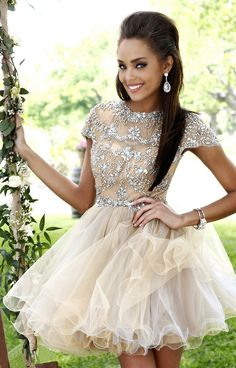 Sexy Dresses Graduation 2014 Free Shipping Hot Sales A Line Open Back Crystals Diamonds Tulle Mini Homecoming Dresses Short $132.16