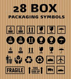 28 Box Packaging Symbols  #GraphicRiver         This pack include 28 symbols, great for any use. • 100% vector graphics. • Easy to Adjust and Scale to any size. Included format: Illustrator eps version 8 • Layered photoshop file with smart objects for each icon, you may scale to any size.     Created: 15June11 GraphicsFilesIncluded: PhotoshopPSD #VectorEPS Layered: Yes MinimumAdobeCSVersion: CS Tags: box #fragile #handlewithcare #packaging #plane #ship #thissideup #train #transport