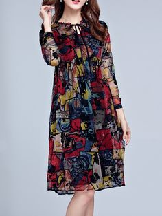 Hot-sale Casual Floral Printed A-Line Long Sleeves Dresses For Women{ - NewChic Mobile. Hot-sale Casual Floral Printed A-Line Long Sleeves Dresses For Women{ - NewChic Mobile. Trendy Dresses, Women's Fashion Dresses, Hijab Fashion, Casual Dresses, Designs For Dresses, Frock Design, Vestidos Vintage, Looks Chic, Kurta Designs