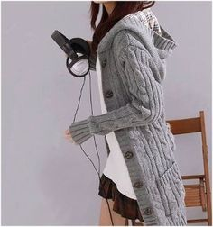 Women's Gray Cable Knit Hooded Cardigan REG $39.95. NOW only $26.95. Limited time only