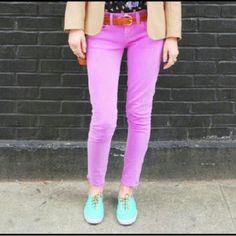 J. Crew Skinnies Sz 26, EUC washed pink color. Cotton, rayon, elastane (3%, good stretch). I am also selling light purple with white spots in sz 27 in another listing. J. Crew Jeans Skinny