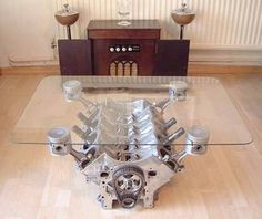 Man Cave Engine Table - would make a great coffee table Man Cave Coffee Table, Engine Coffee Table, Engine Table, Coffee Tables, Car Part Furniture, Furniture Design, Automotive Furniture, Furniture Ideas, Unique Furniture
