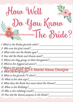 Bridal Shower Game How well do you know the bride Pink Floral Garden Party Shabby Chic Theme by TheBrandedBangle