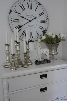 Bedroom Dresser Décor. White, Grey, Black, Chippy, Shabby Chic, Whitewashed, Cottage, French Country, Rustic, Swedish decor Idea. ***Pinned by oldattic ***.
