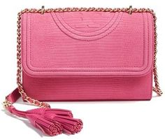 05350ad0542 Tory Burch Small Fleming Snake Embossed Convertible Shoulder Bag - Pink -  ShopStyle