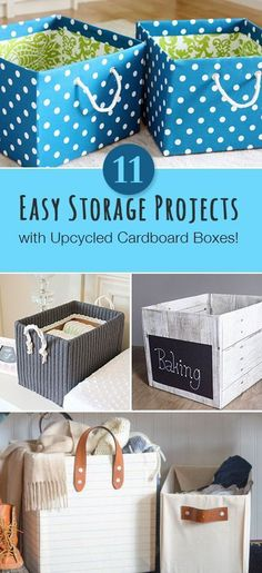 Easy Storage Projects with Up-Cycled Cardboard Boxes • Learn how to make pretty storage out of regular cardboard boxes. Can you believe some of these are diaper boxes? Diy Organizer, Cardboard Organizer, Diy Organization, Storage Organizers, Organizing Ideas, Diy Storage Boxes, Paper Storage, Crate Storage, Wood Storage