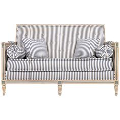 French antique, Louis XVI style sofa or settee with hand-painted, solid beech wood frame, upholstered in blue and white striped ticking. Fabric shows some wear/minor staining.