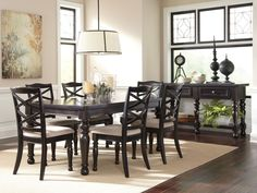 HILLSIDE - 7pcs COTTAGE RECTANGULAR BLACK DINING ROOM TABLE CHAIRS SET FURNITURE #Cottage