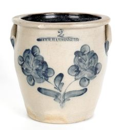 "Sold For $ 1,600  William Moyer, Harrisburg, Pennsylvania two-gallon stoneware crock, 19th c., with a cobalt floral decoration, 9 1/2'' h.                            Condition report           1"" x 1/2"" rim chip. Hairlines to mid body. Minor base rim chips."